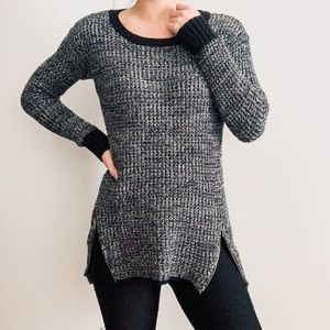 Kaisely Gray Marled Waffle Weave Zipper Sweater